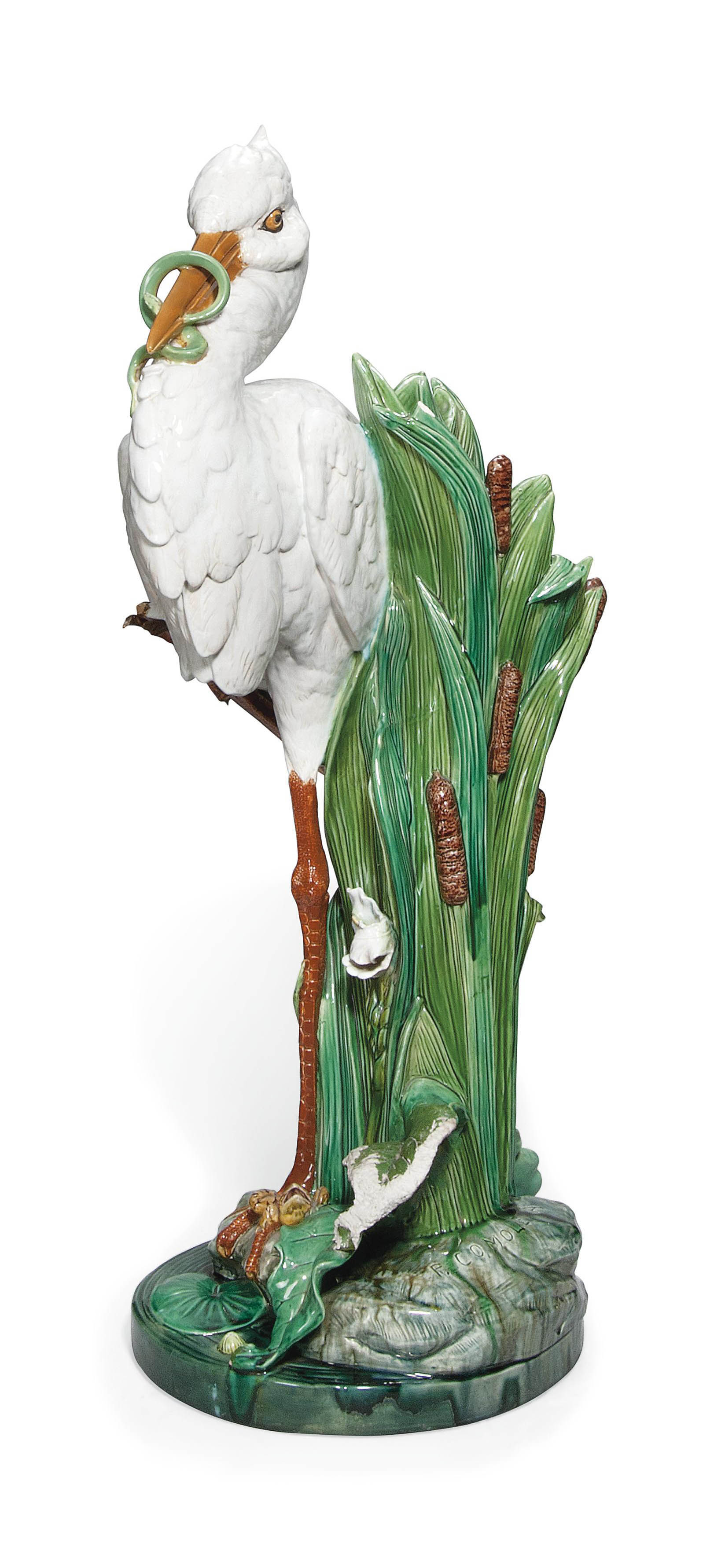 A MINTON MAJOLICA STORK STICK-STAND