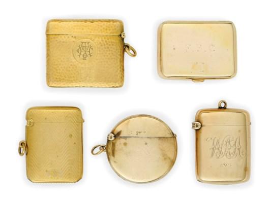 A GROUP OF FIVE GOLD VESTA CAS