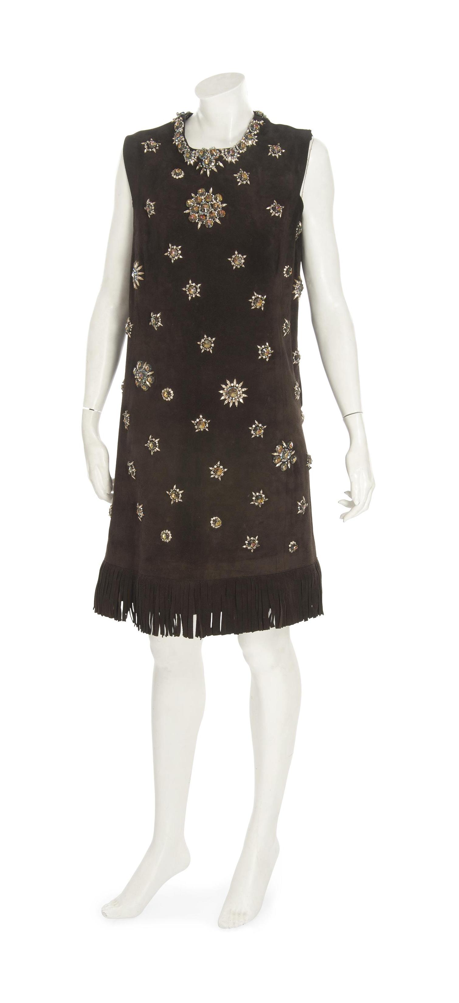 A BROWN SUEDE MINI DRESS