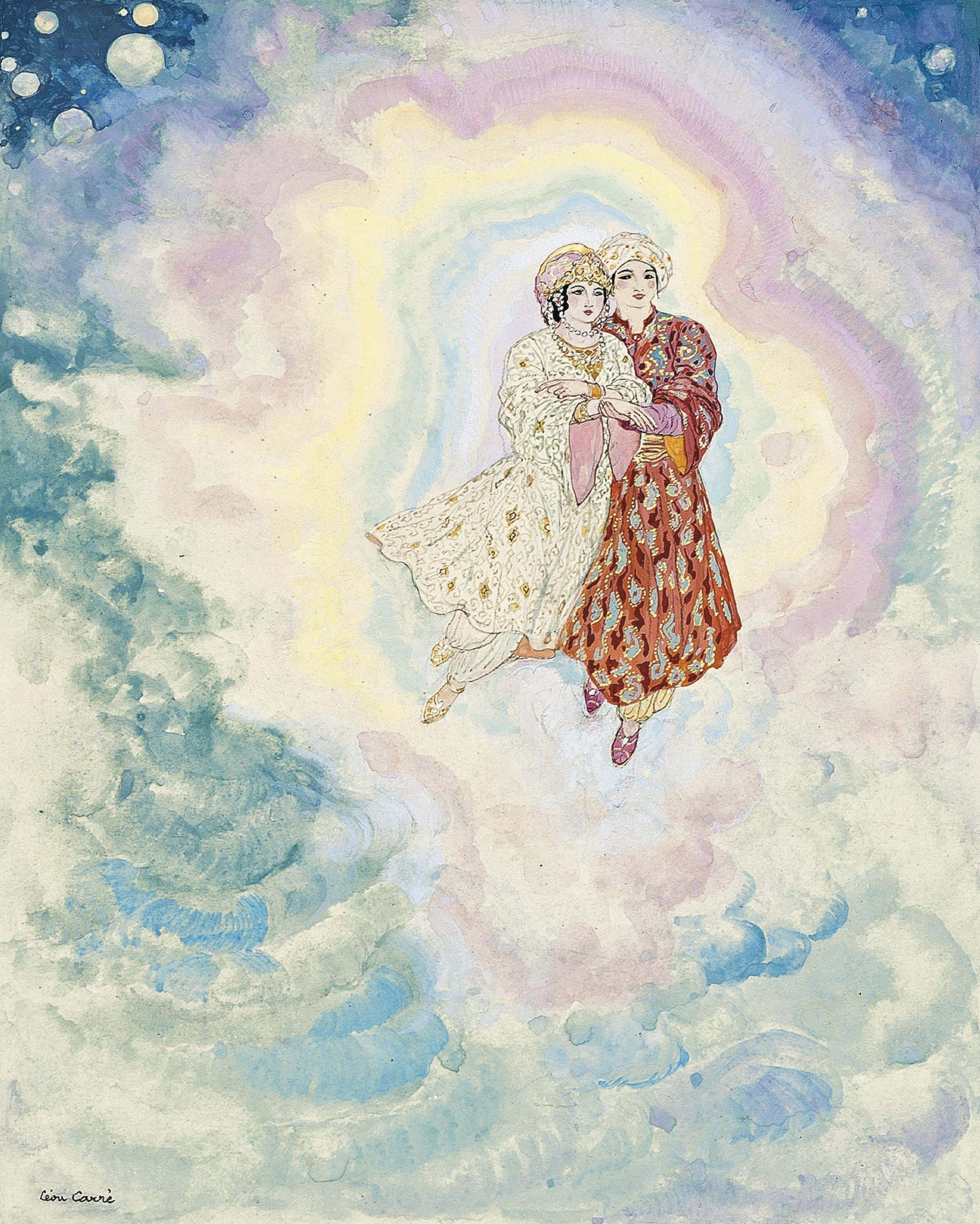 The two blessed lovers held hands, from 'The Story of Prince Jasmin and Princess Amande'