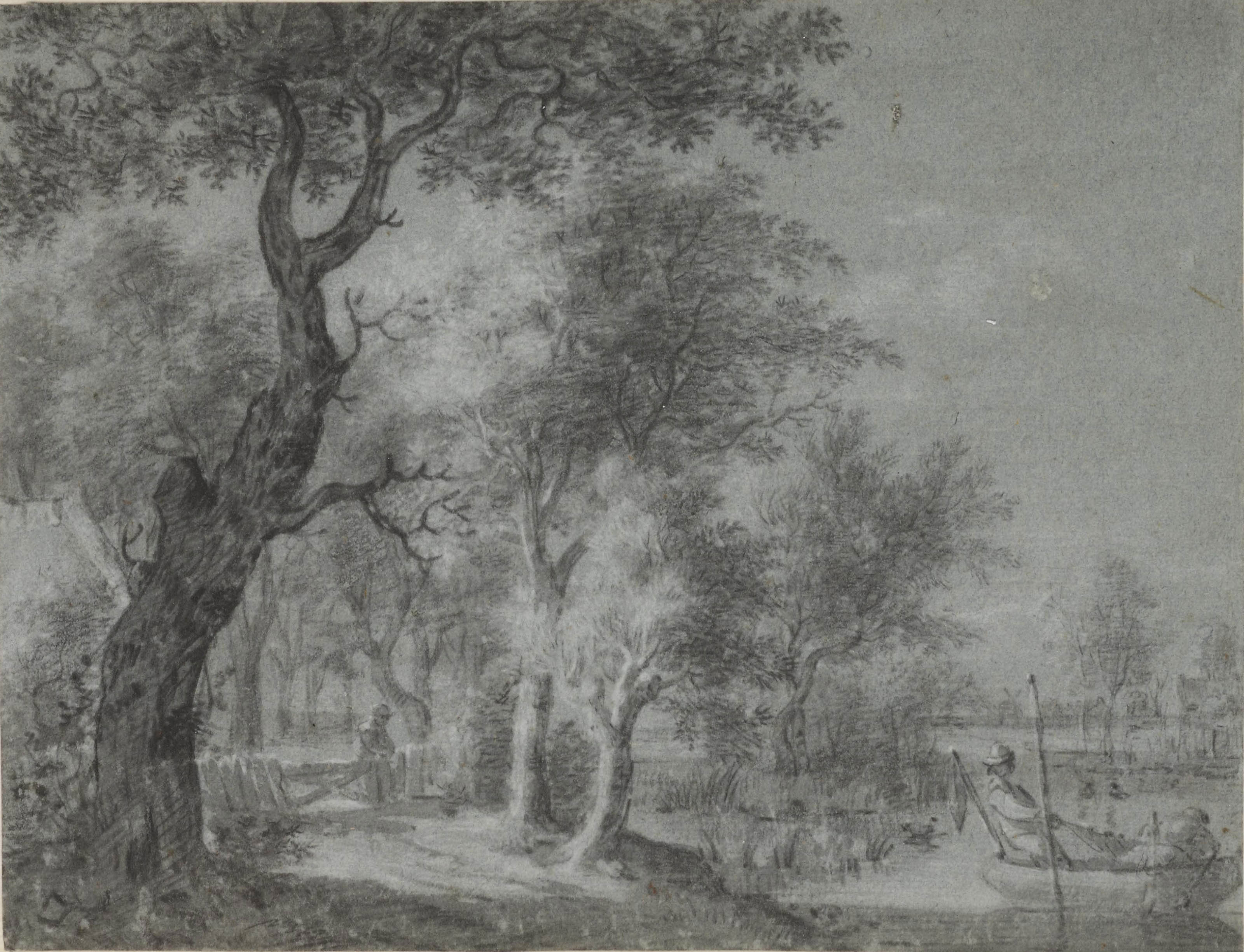 A wooded landscape with a fishing boat