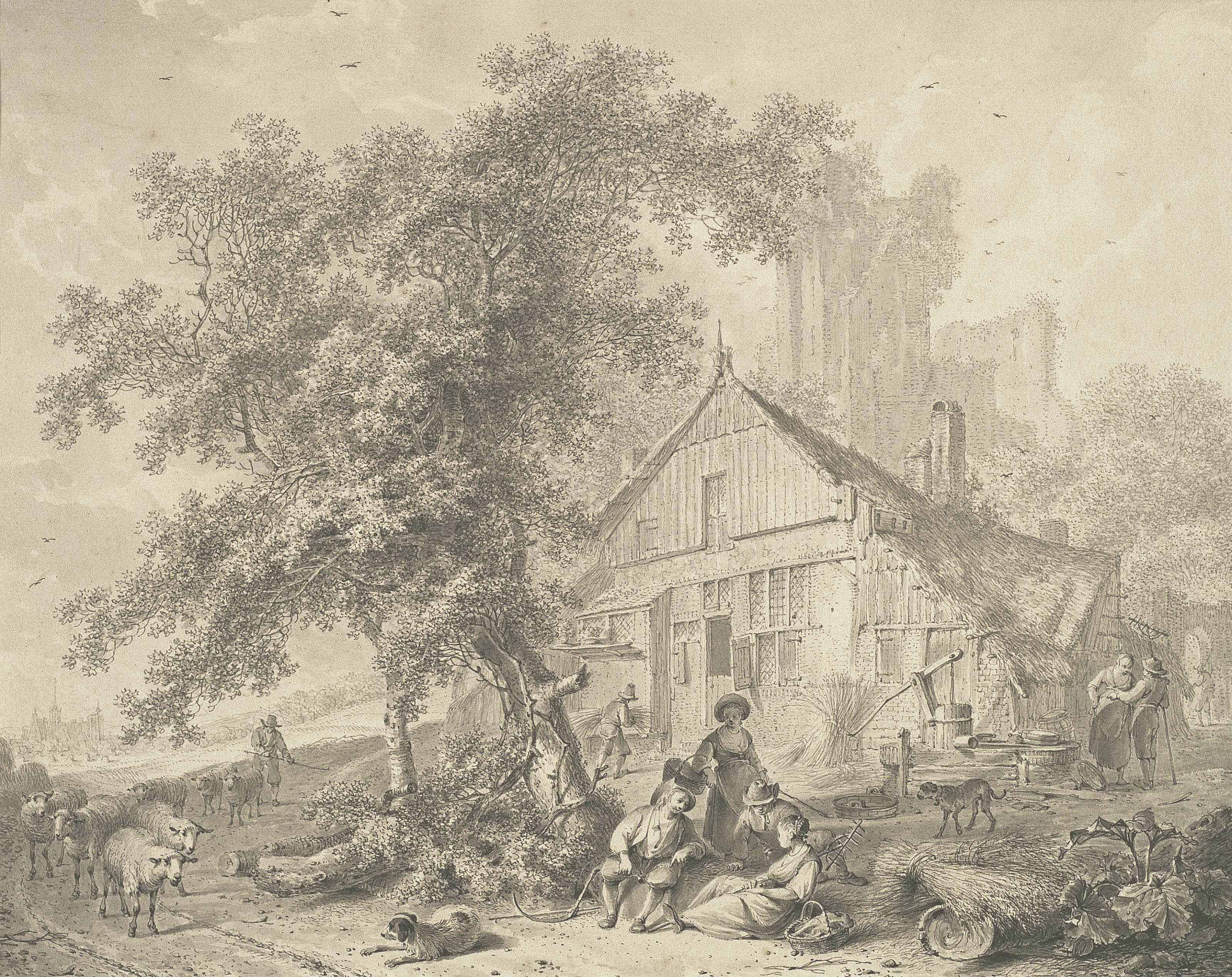 Harvesters resting beneath a tree in a farmyard