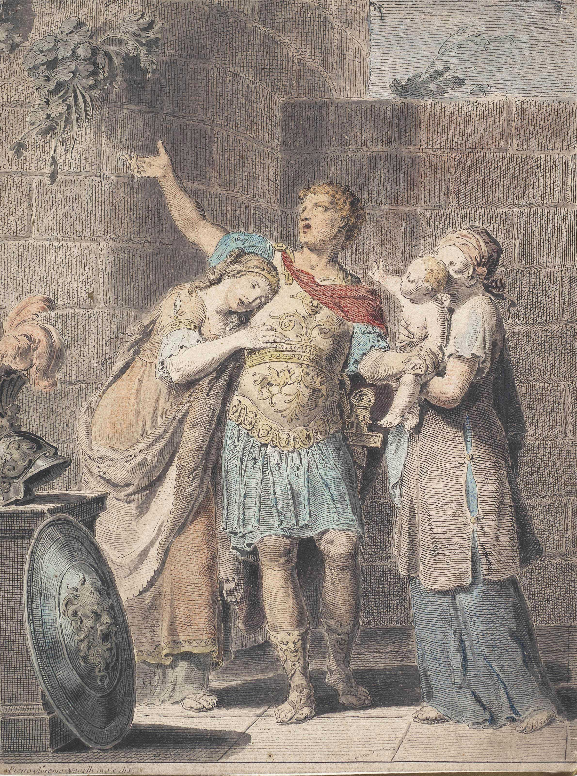 Hector parting from Andromache and Astyanax