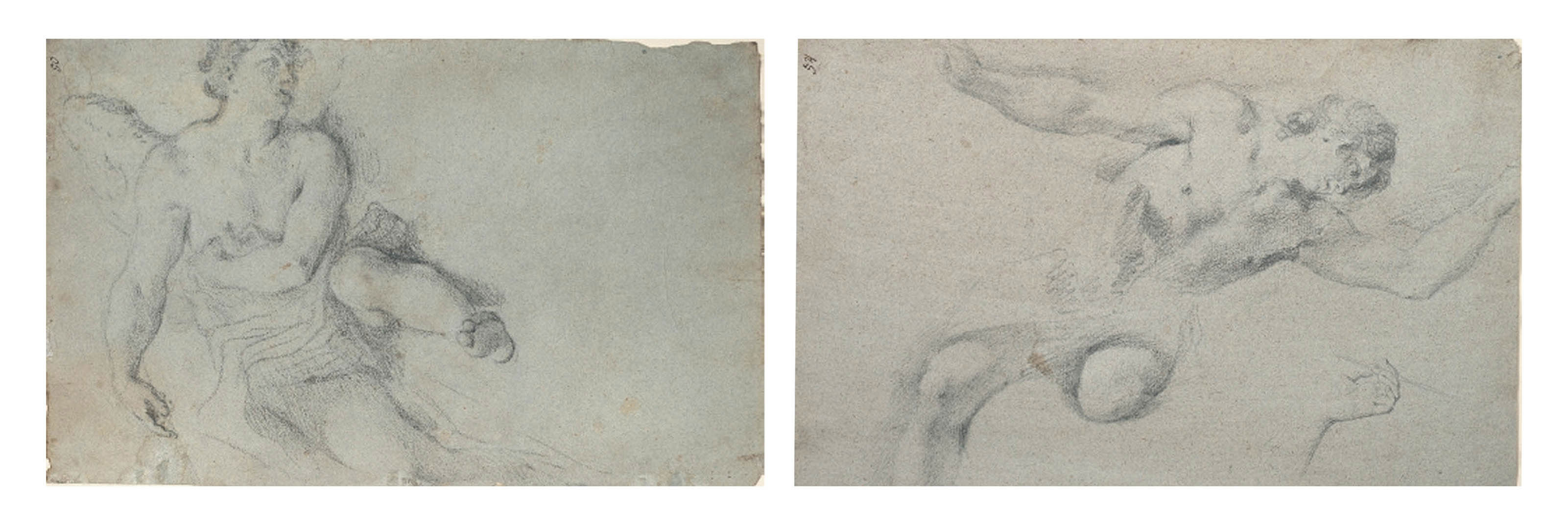 An angel in flight (recto); Studies of hands and a man seen from behind (verso); and An angel leaning down with upraised arm