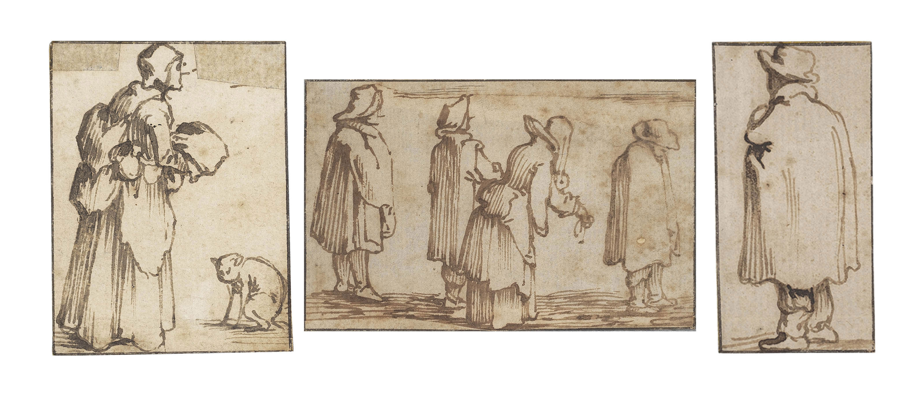 Five sheets of figure studies, two with individual figures, one with a couple, one with a woman and a cat, and one with a group of four figures, all seen in profile or from behind