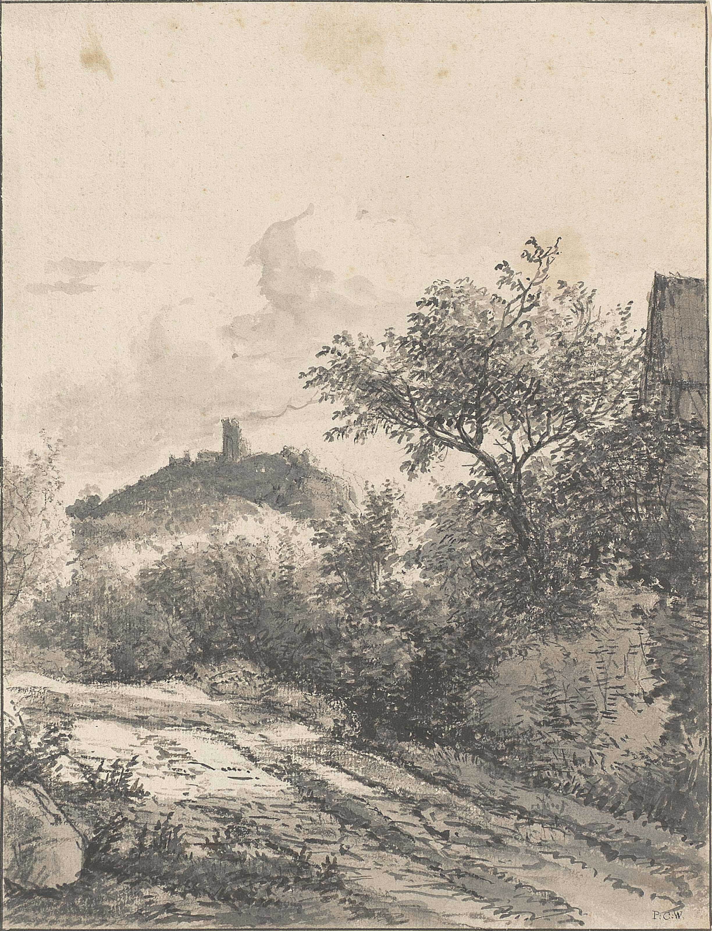A track near a fort and another building (recto); and Study of a fallen tree (verso)