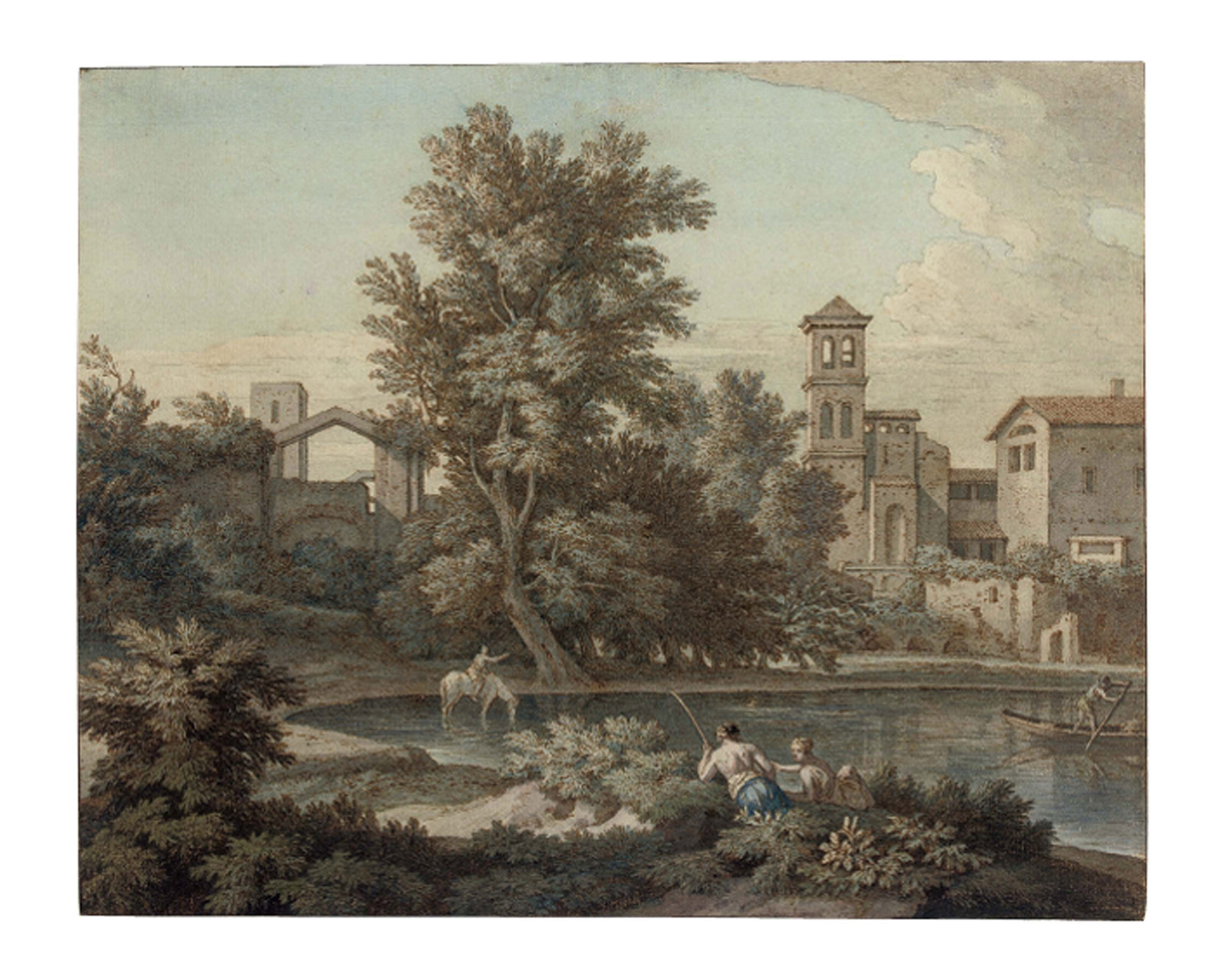 An Italianate landscape with a rider watering his horse, and other figures, after Gaspard Dughet