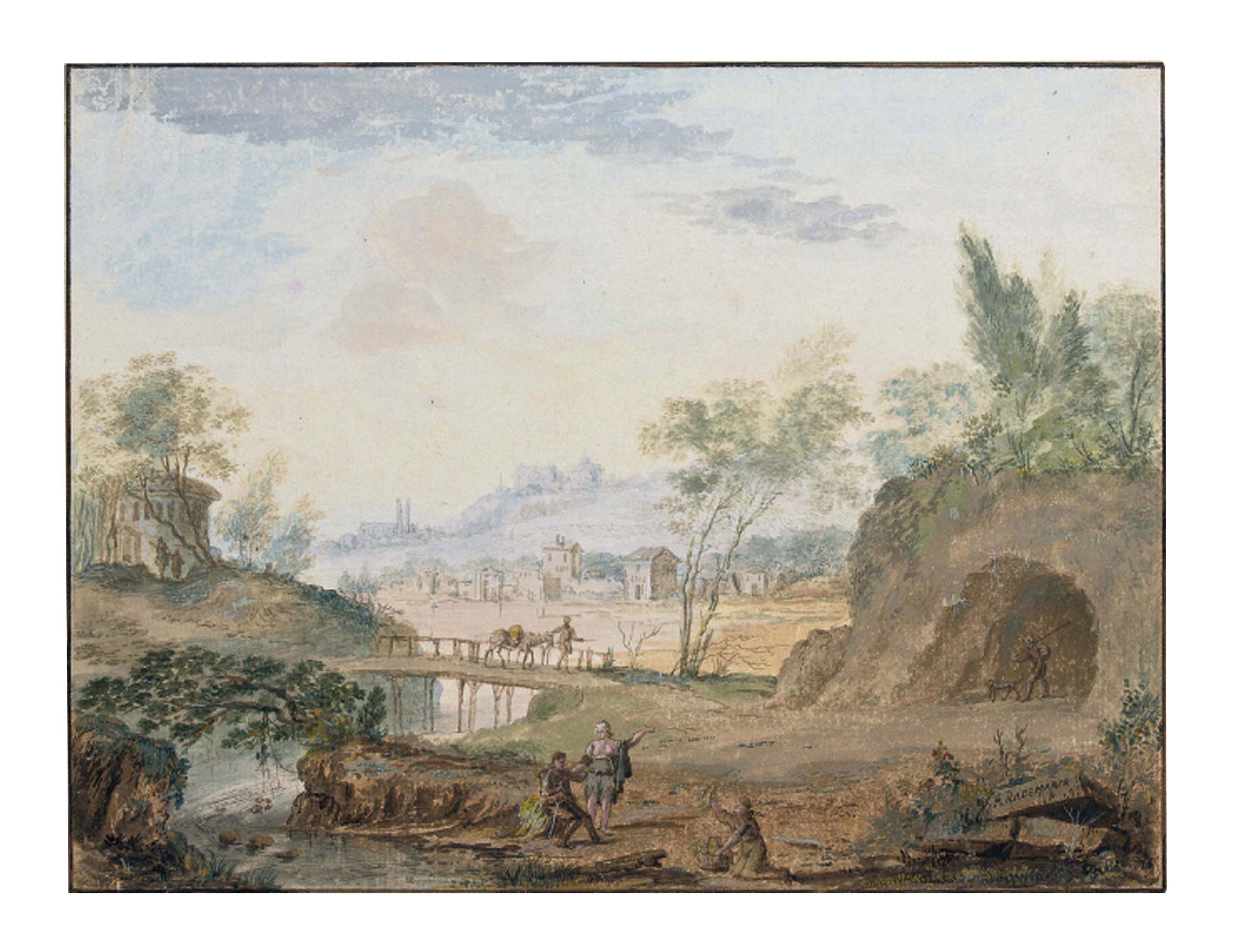 An Italianate landscape with a chapel beside a lake; and A classical river landscape with a traveller on a bridge