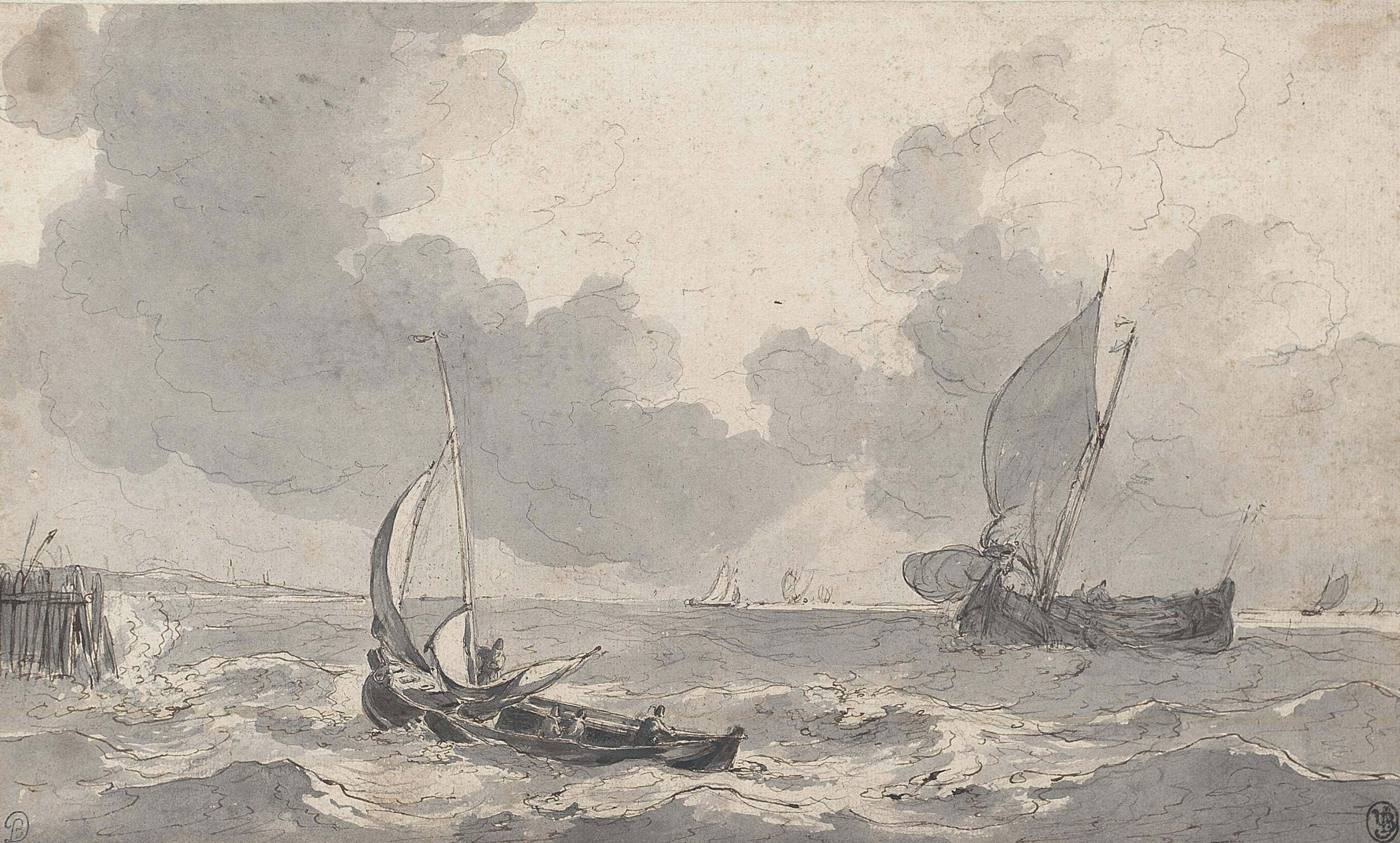 Fishing boats in a rough sea