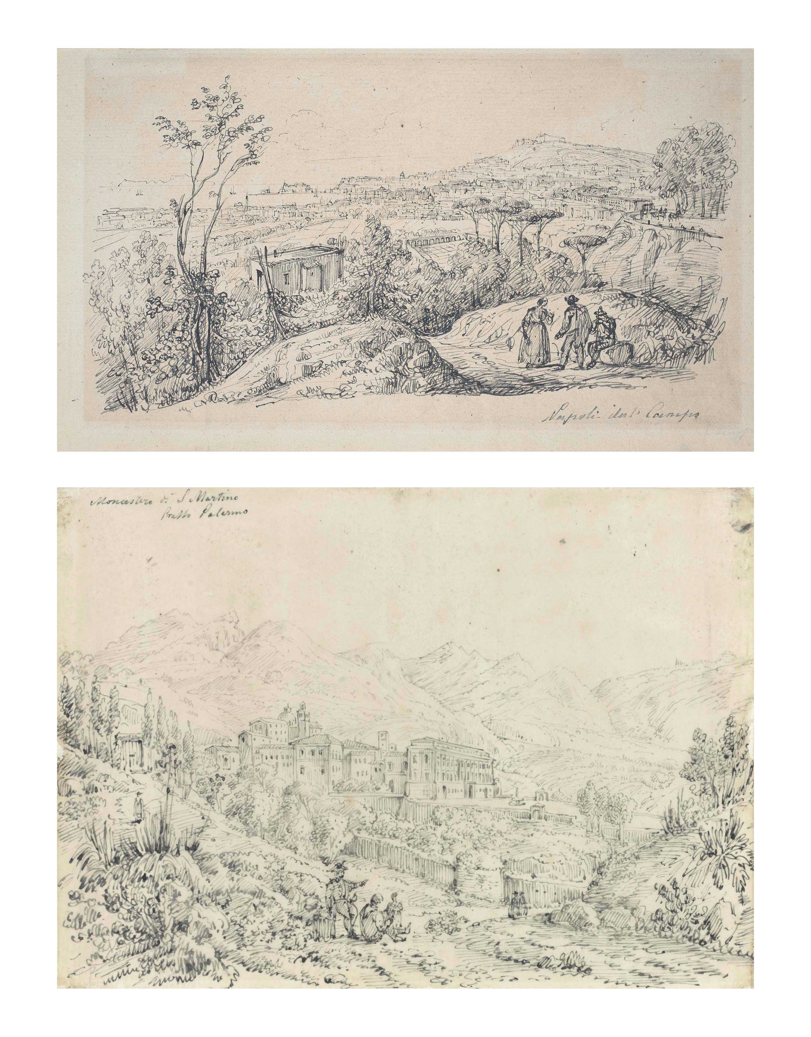 Four views of Naples and Sicily: View of Selinunte; Naples from the Campo; The monastery of San Martino near Palermo; and Naples from the Carmine