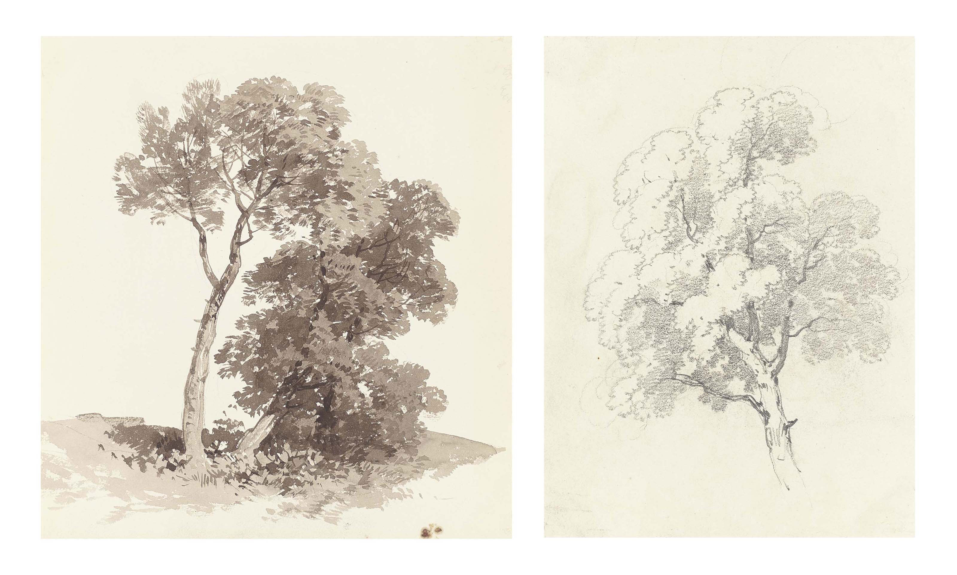 An album of fifty-one drawings and watercolours comprising: 24 studies of trees, two of rocks, four of a house, one of a house beside a tree, four of rocks and trees, two of felled logs, two of rocks beside a fence, eight landscapes, one landscape with a castle, one landscape with a house, one seascape with subsidary drawings of yachts, one study of grass