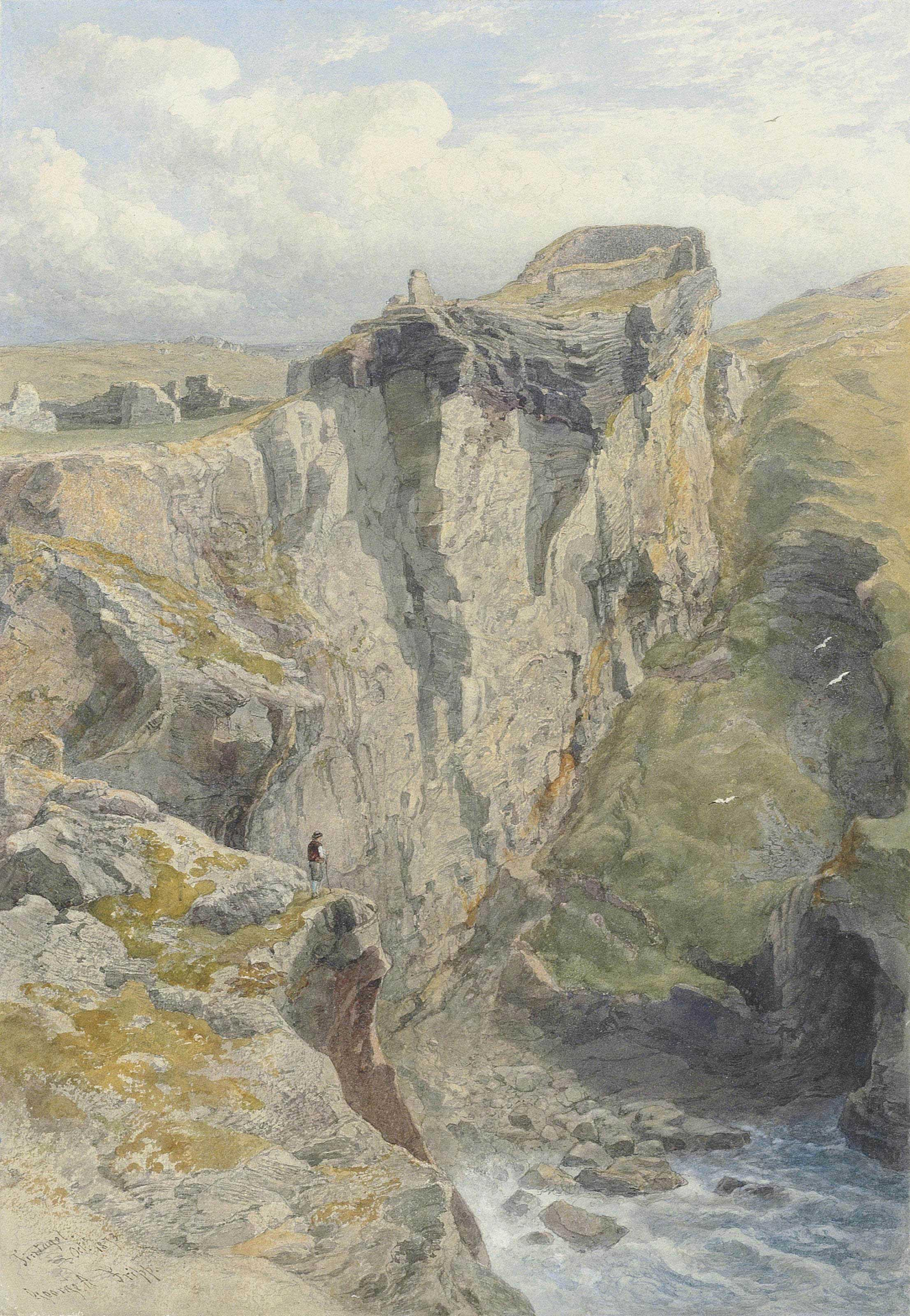 A figure on the cliff overlooking the sea below the ruins of Tintagel Castle, Cornwall
