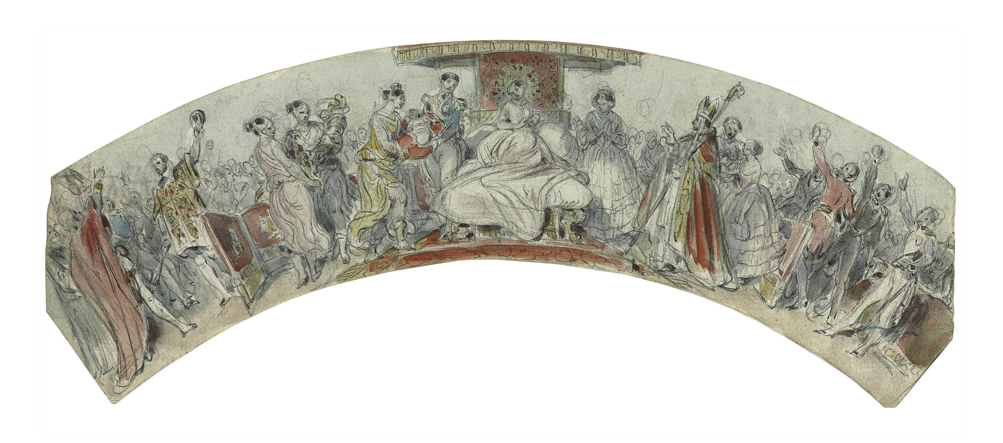 Design for a fan; The birth of King Edward VII
