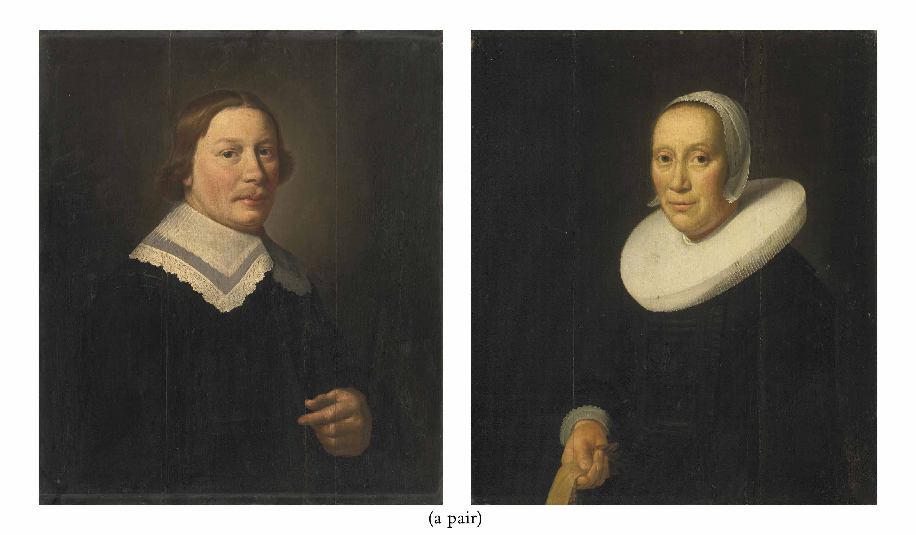Portrait of a gentleman, half-length, in black with a white collar; and Portrait of a lady, half-length, in black with a white collar and bonnet