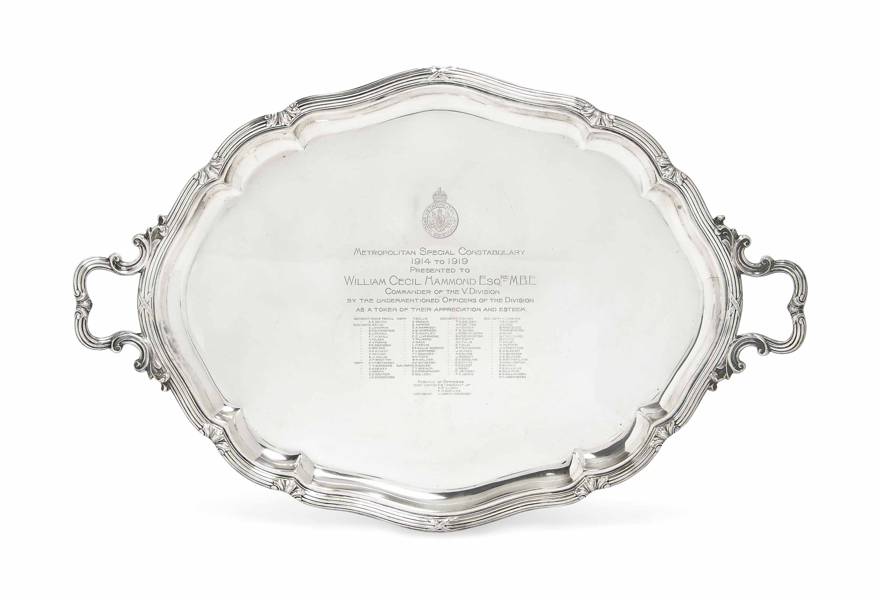 A LARGE OVAL SILVER TWO-HANDLED TRAY