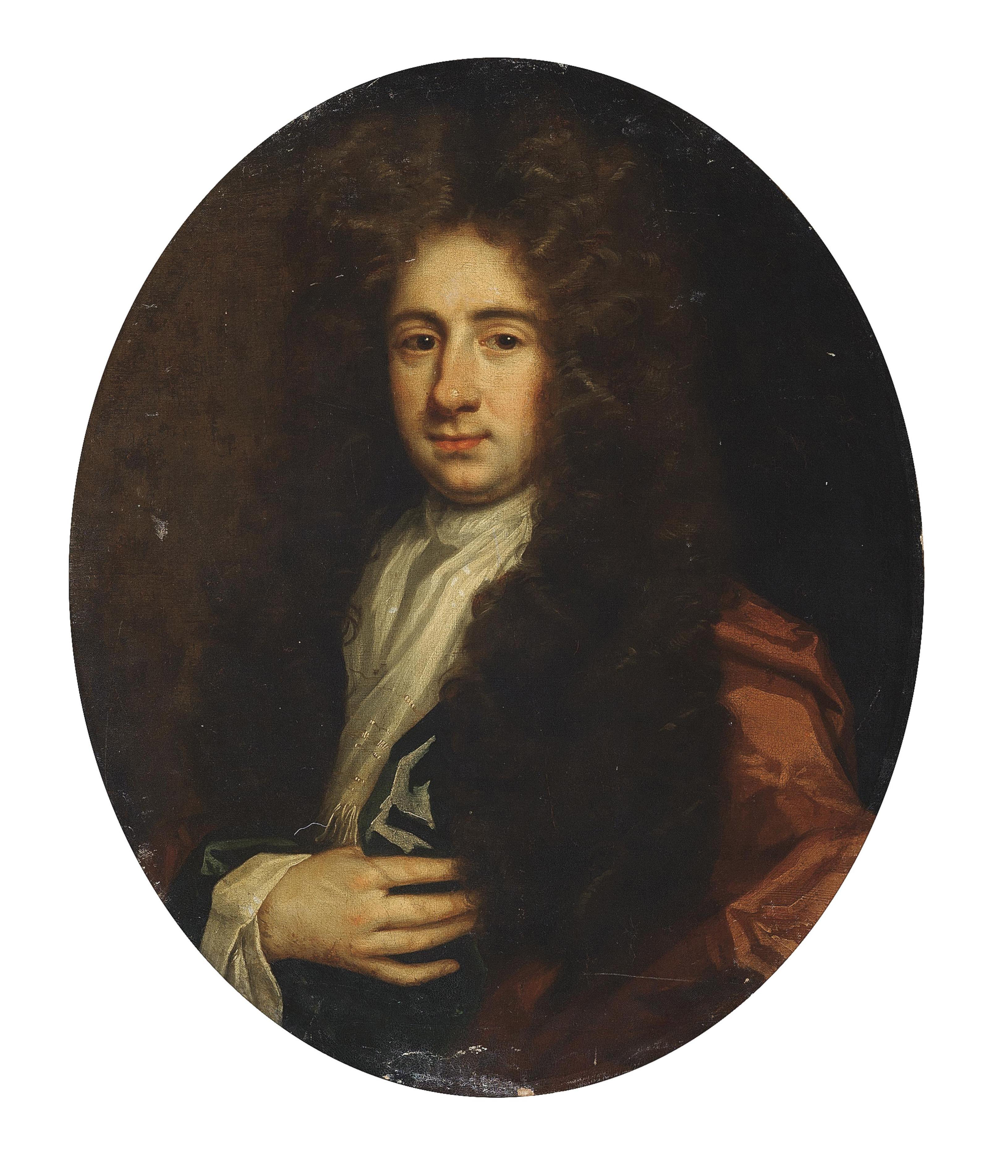 Portrait of a gentleman, half-length, in a red mantle