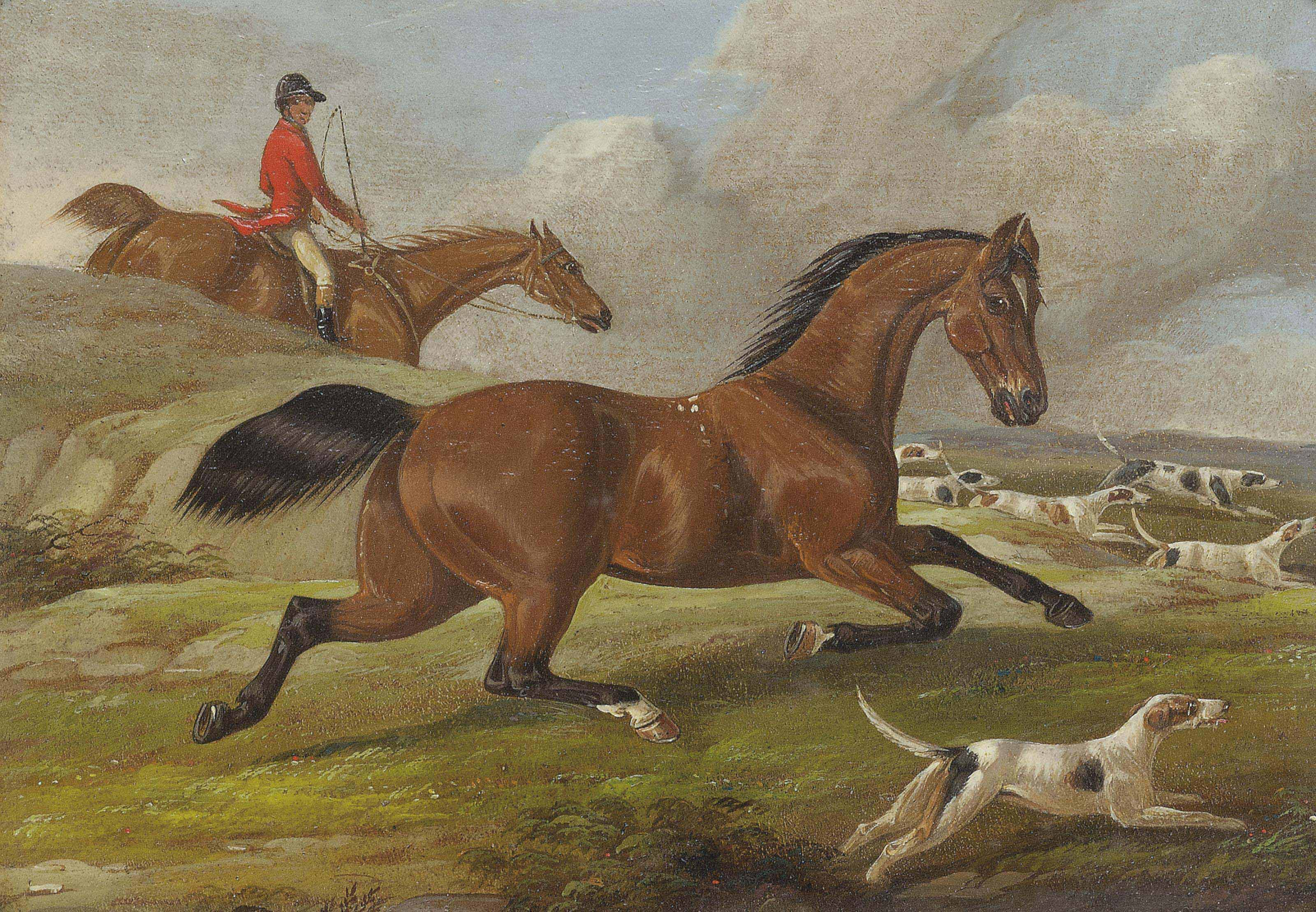 A view from the stables; A surprise meeting; Joining the hunt; and Tally ho!