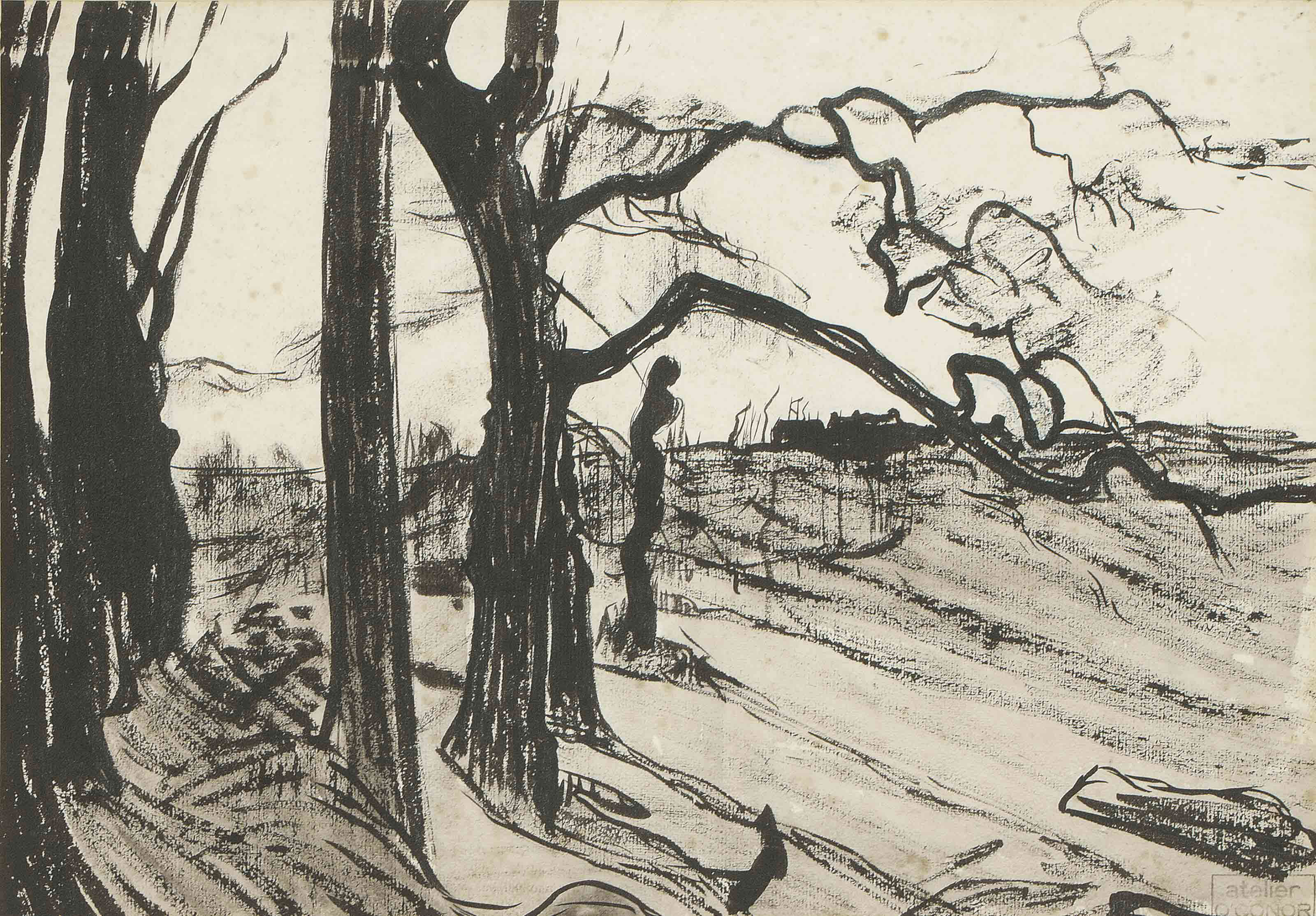 Bare trees and distant farm, Pont-Aven