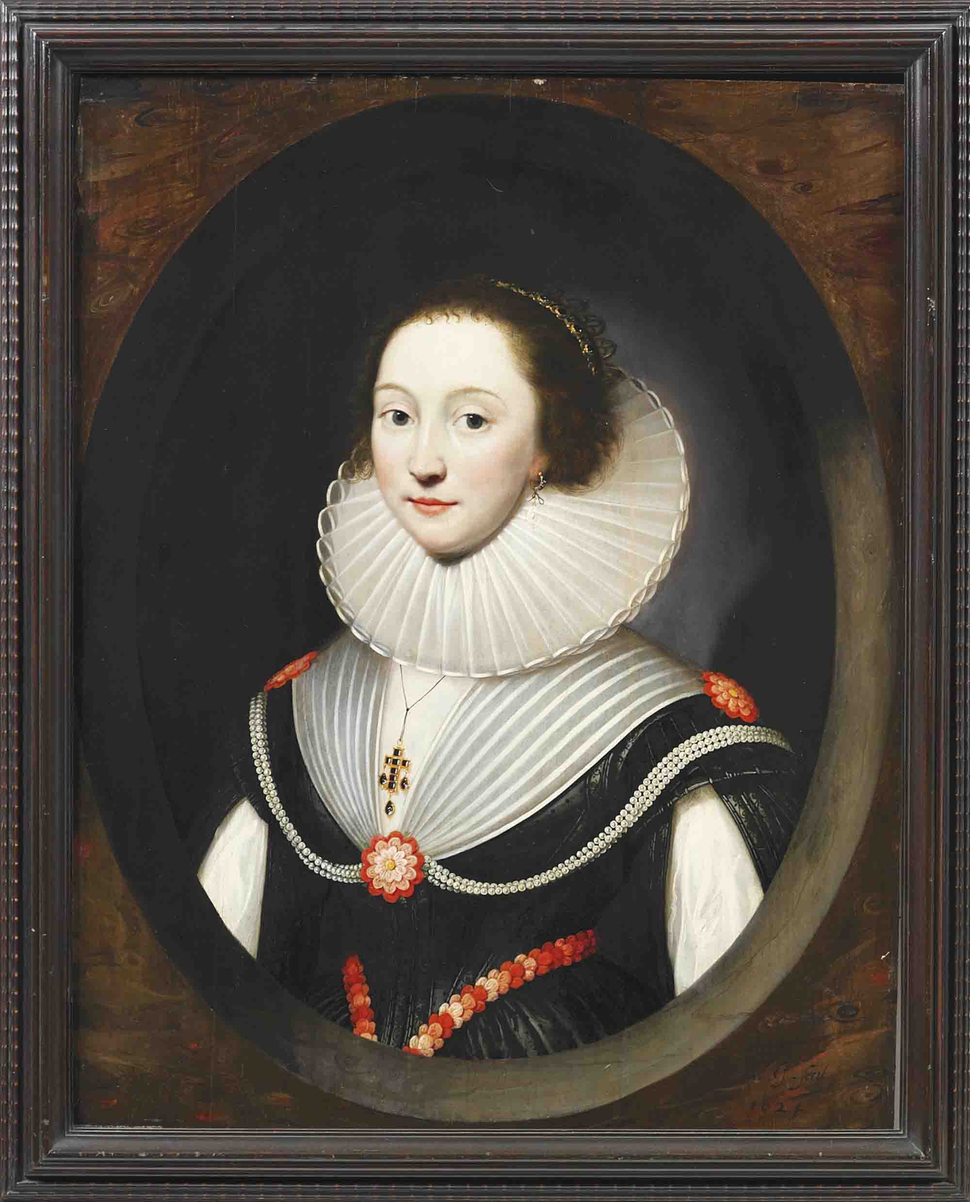 Portrait of a lady, half-length, in a black dress and white ruff and jewelled pendant, in a feigned marbled oval