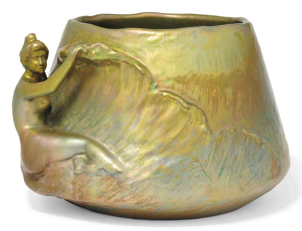 AN ART NOUVEAU FIGURAL IRIDESCENT CERAMIC JARDINIERE BY CLEMENT MASSIER
