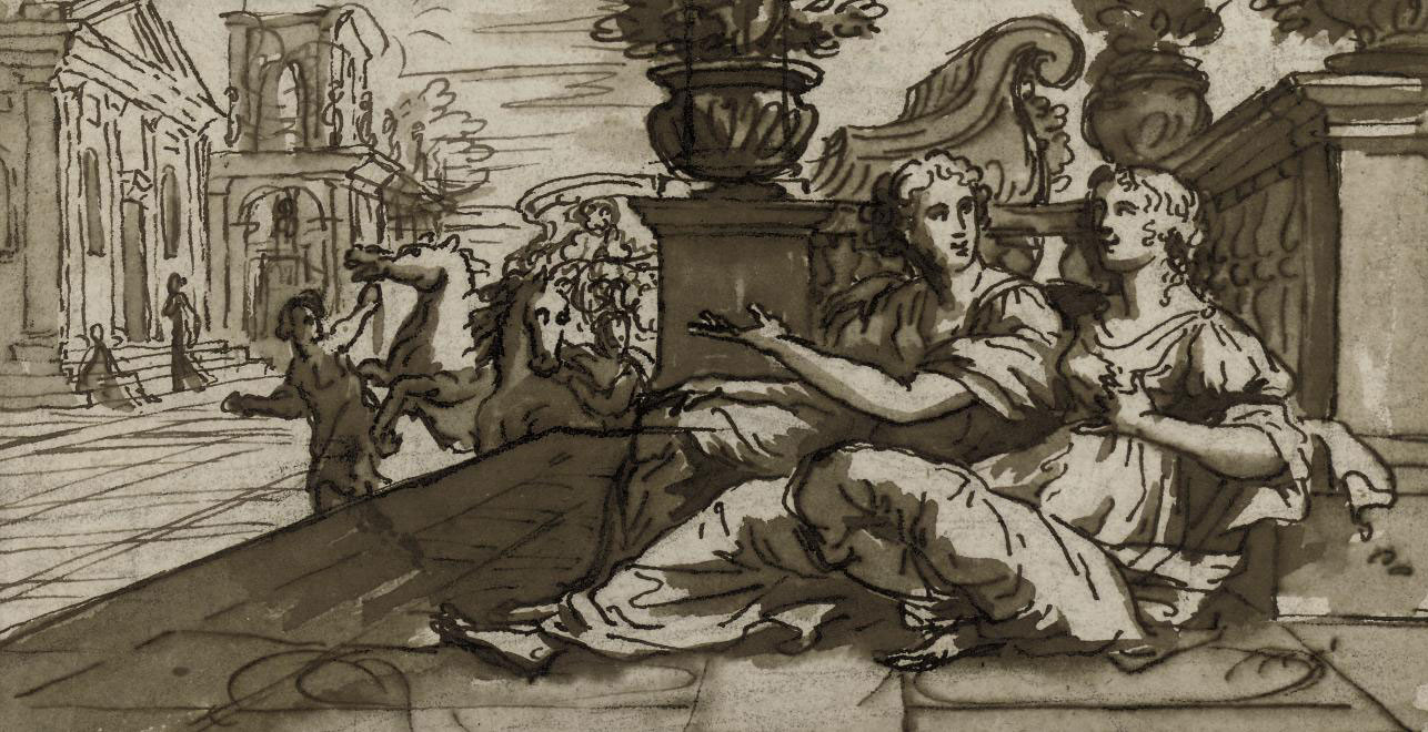 Two women reclining against a balustrade in a classical city