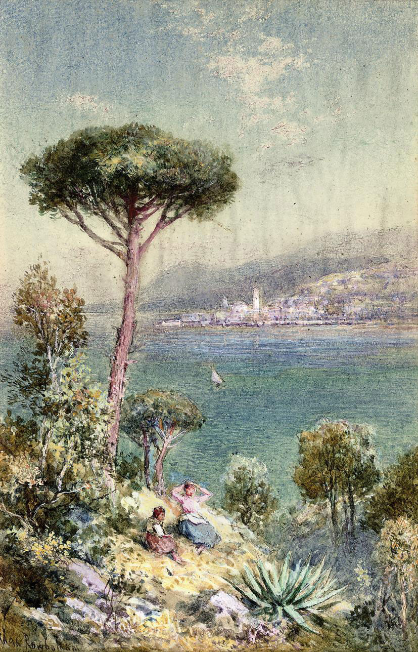 Distant view of Mentone, South France - evening (illustrated); and Baveno, from the Isola Superiore, Lago de Maggiore, Italy