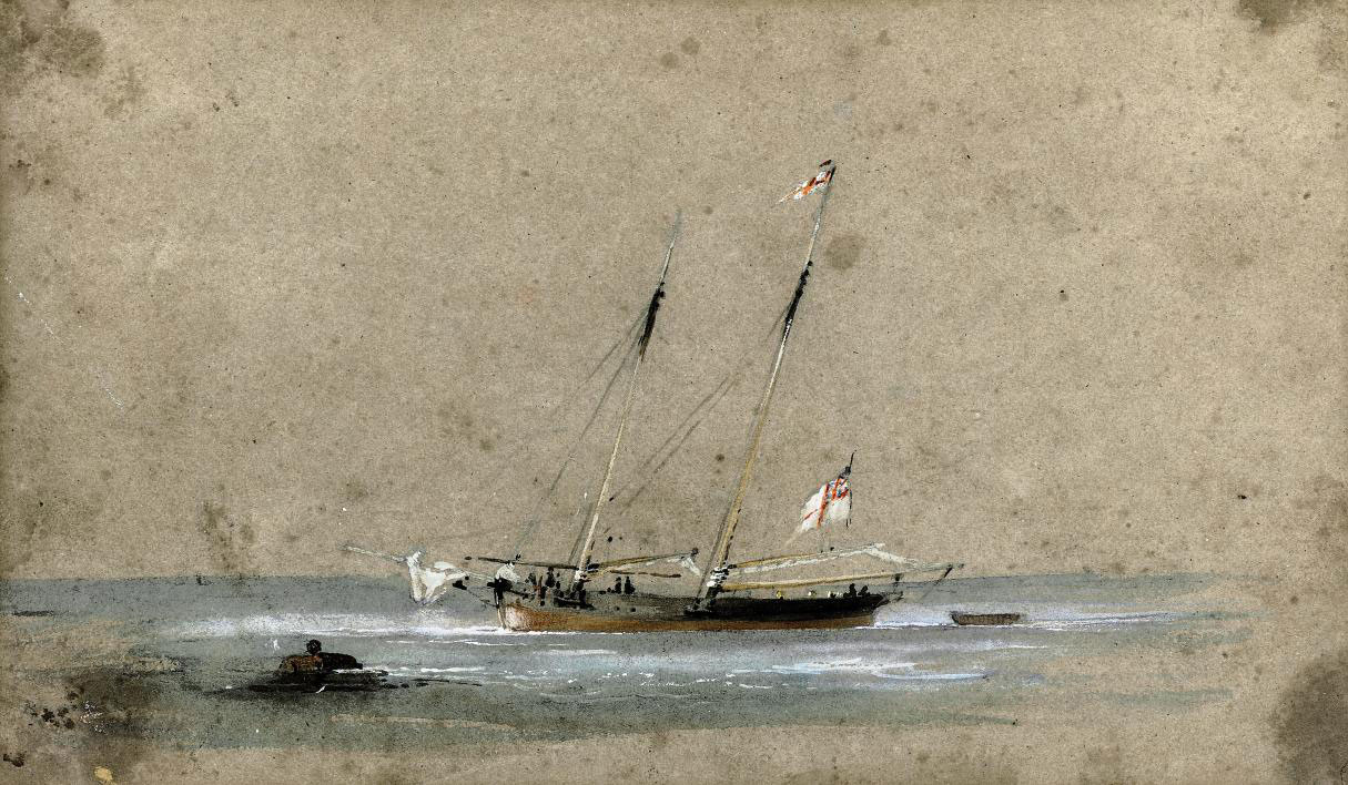 Cricket match in Salara, Italy (illustrated); and A R.Y.S. yacht at anchor