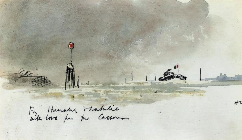 A tug on a French estuary (illustrated); and View of a Venetian lagoon