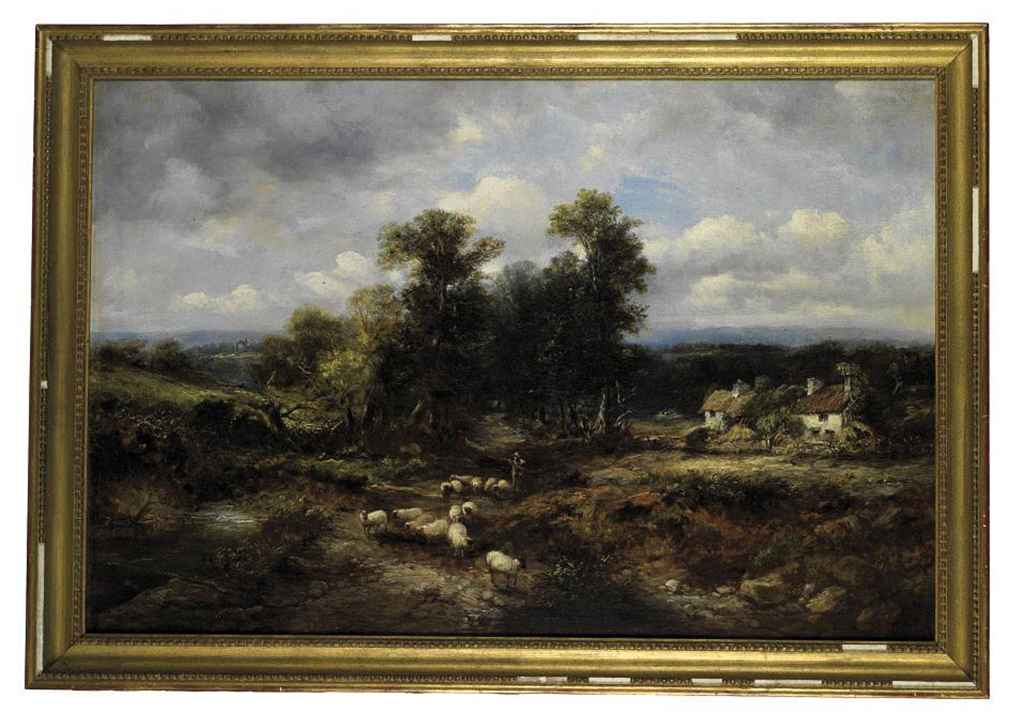A shepherd and his flock on a country track, cottages beyond
