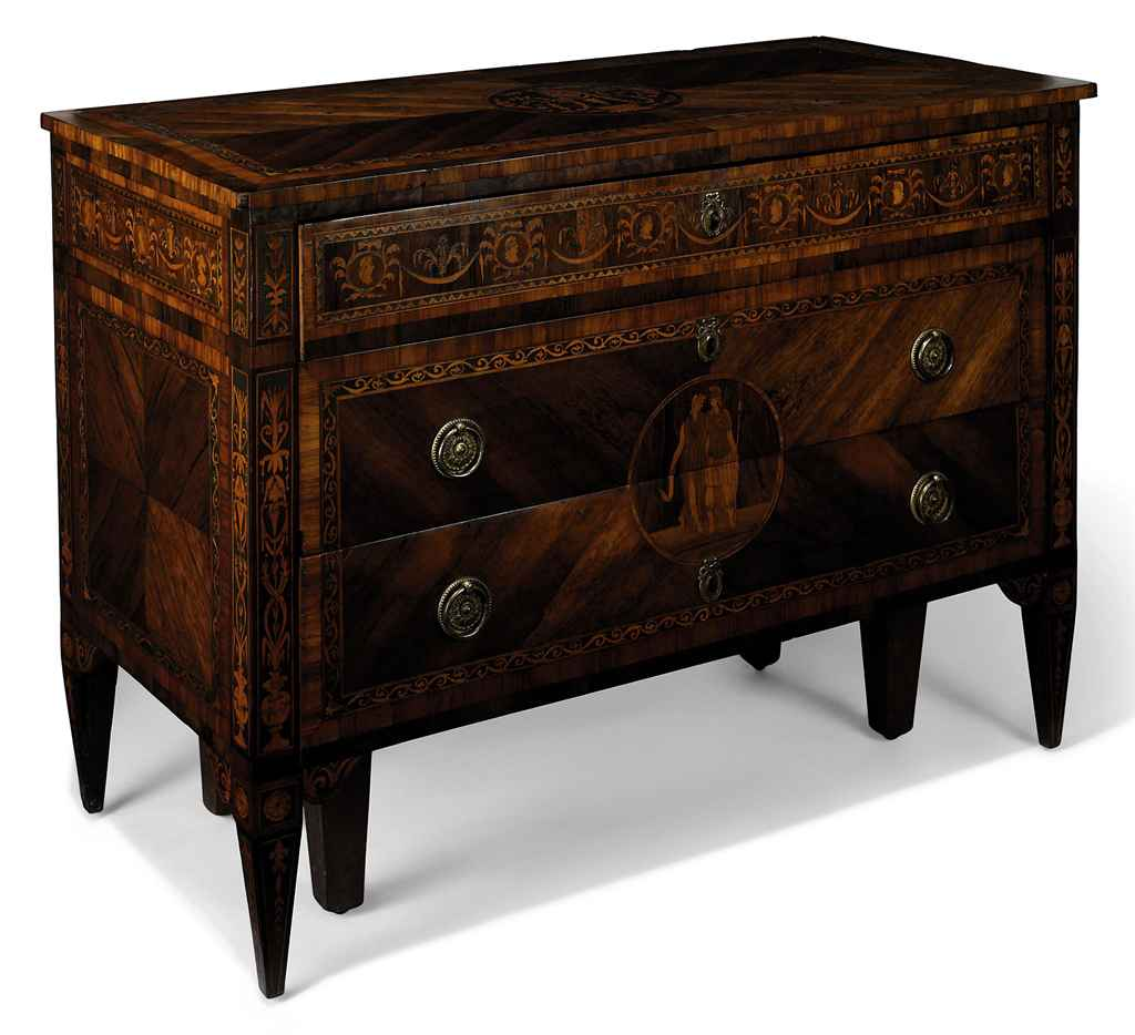 AN ITALIAN WALNUT, ROSEWOOD AND MARQUETRY COMMODE