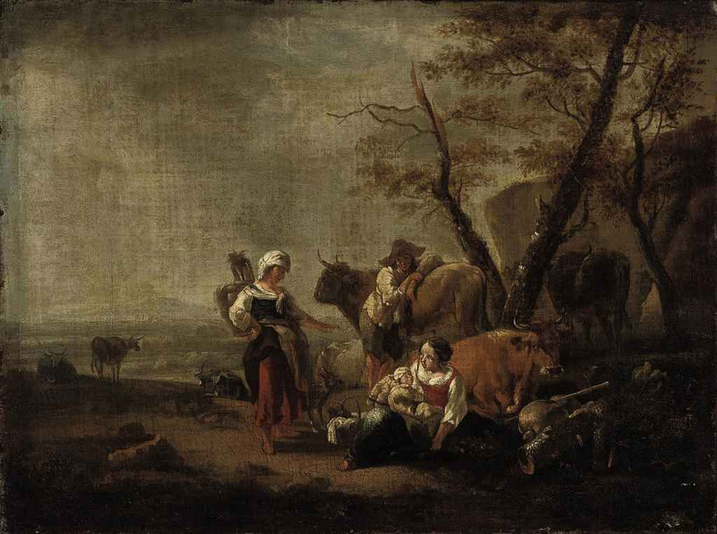 A shepherd family at rest by a tree