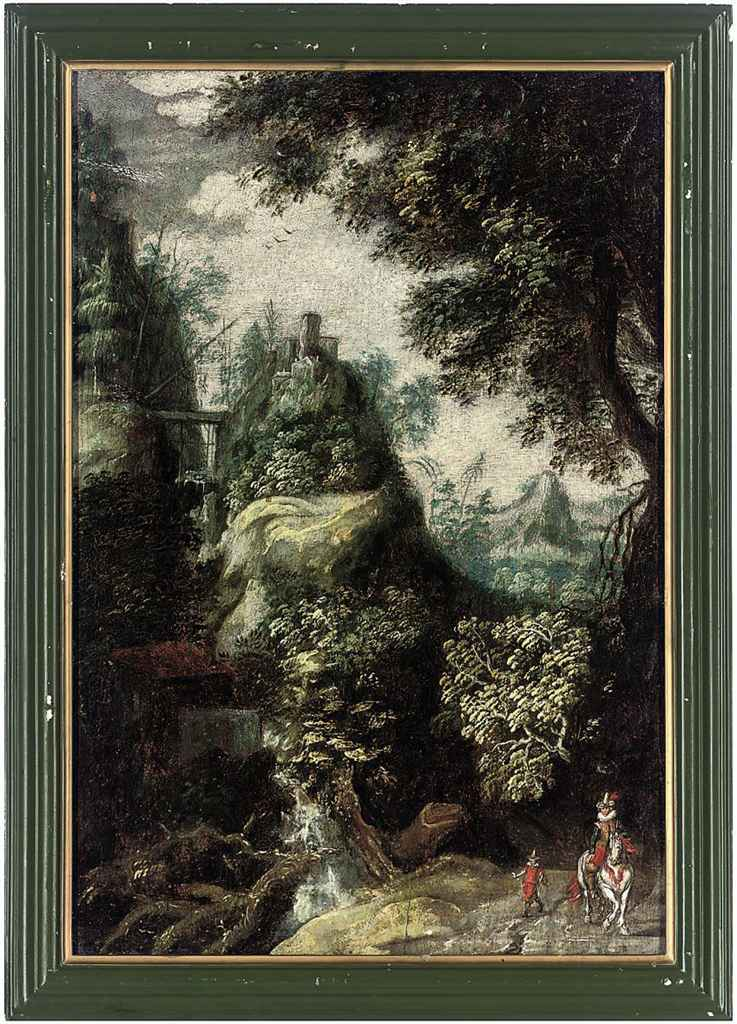 Figures in a mountainous, wooded landscape with a waterfall