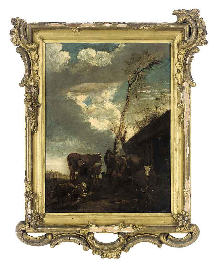 Peasants with cattle and sheep before a barn