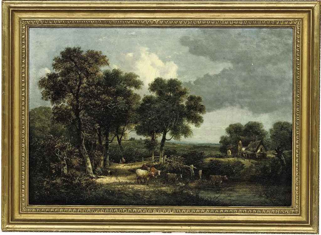 Cattle watering at a river, a cottage beyond