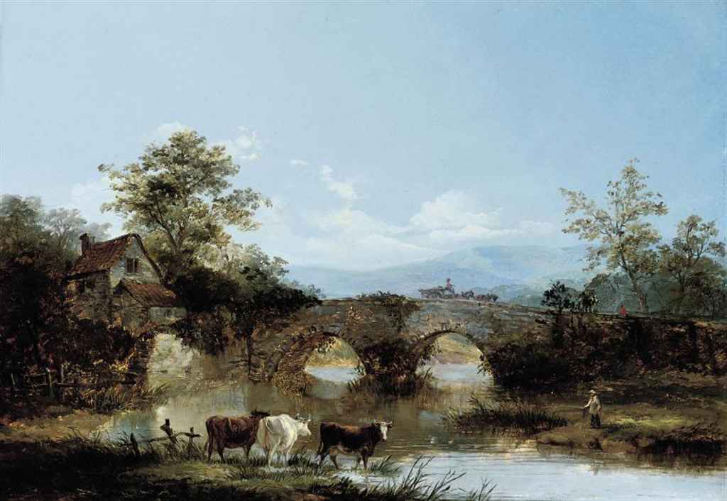 Cattle watering at a river, a cottage and a bridge beyond