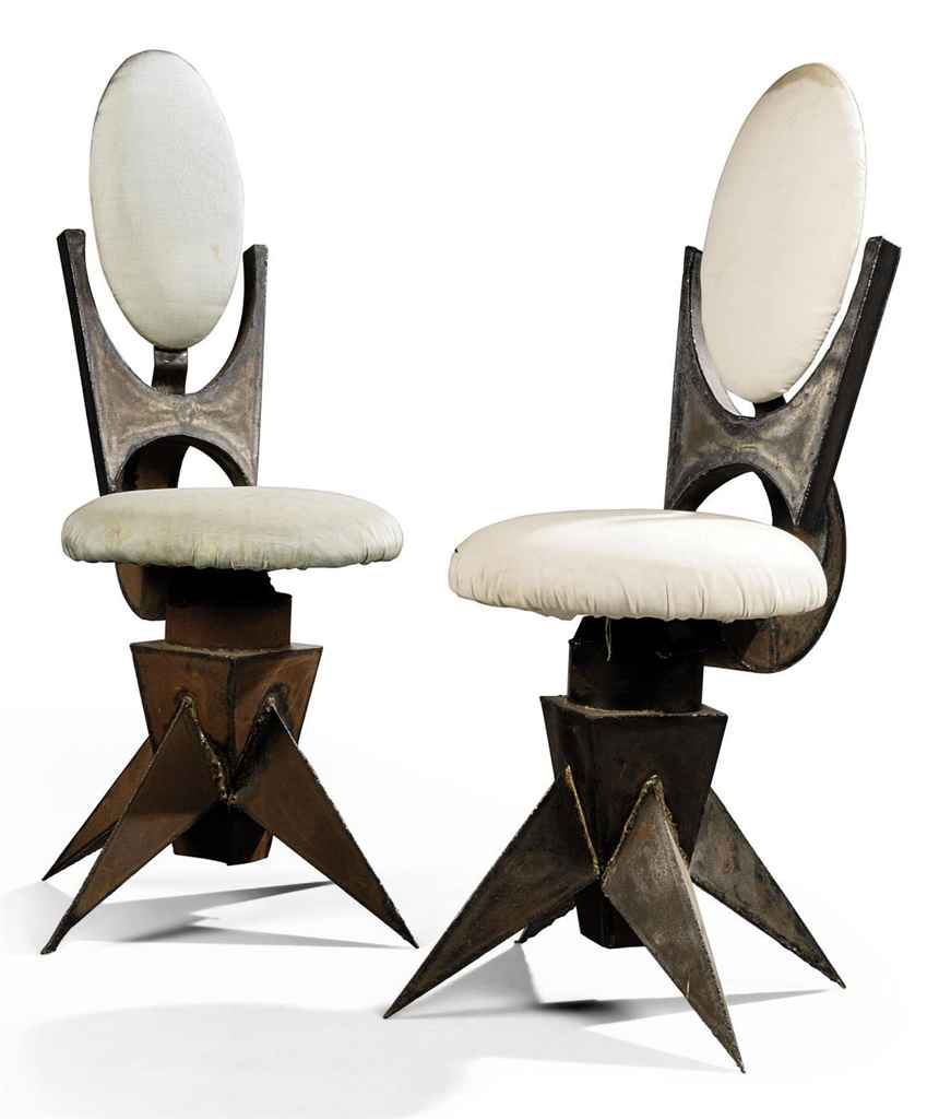 A PAIR OF TOM DIXON WELDED METAL SWIVEL DESK CHAIRS