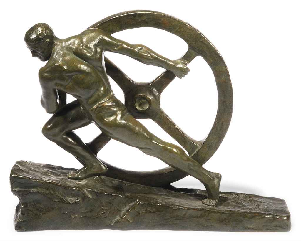 A PIERRE LE FAGUAYS GREEN-PATINATED BRONZE SCULPTURE OF A MAN PULLING A WHEEL