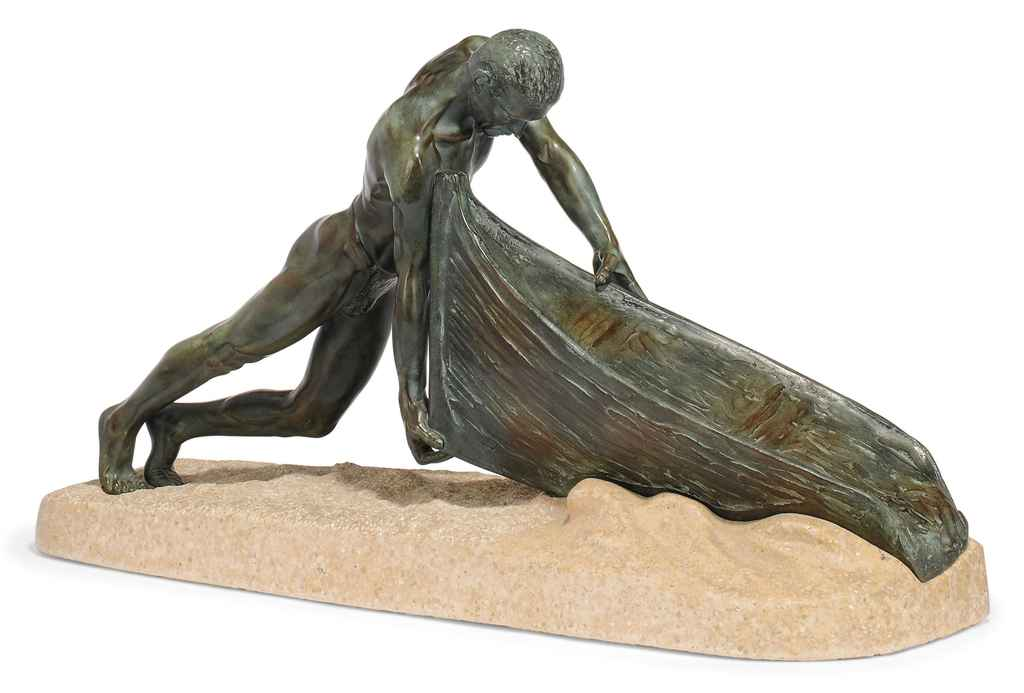A LARGE MAX LE VERRIER PATINATED SPELTER MODEL OF A FISHERMAN PUSHING HIS BOAT INTO THE WATER