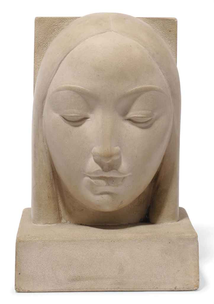 AN R. SCARPA STONEWARE BUST OF WOMAN