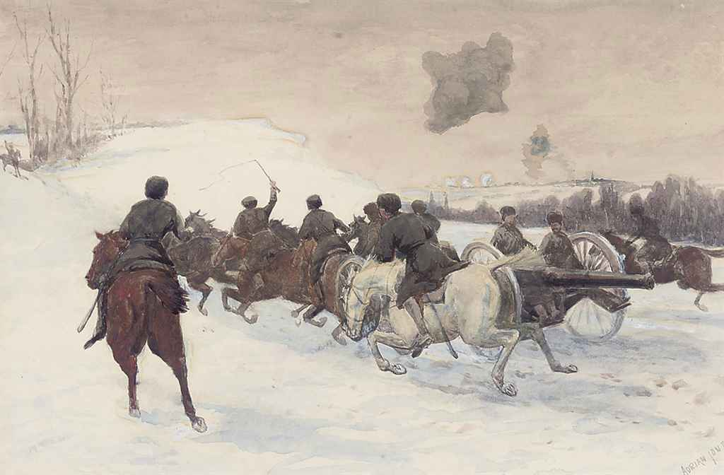 Russian artillery charging through the snows of East Prussia