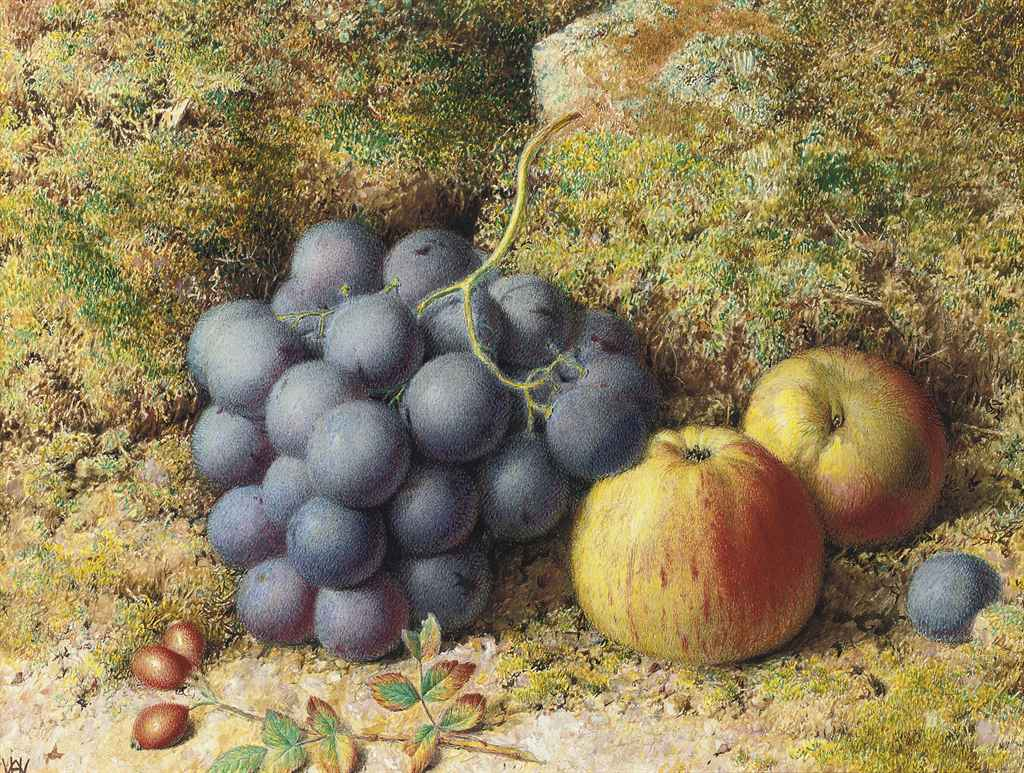 Still life of red grapes, apples and rosehips on a mossy bank