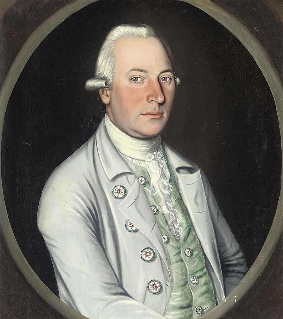 Portrait of a gentleman, bust-length, in a blue coat and green waistcoat, in a feigned oval
