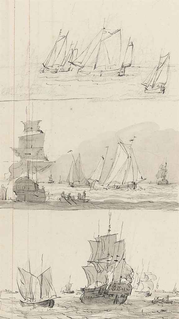 Three studies of Dutch shipping (recto) and (verso)