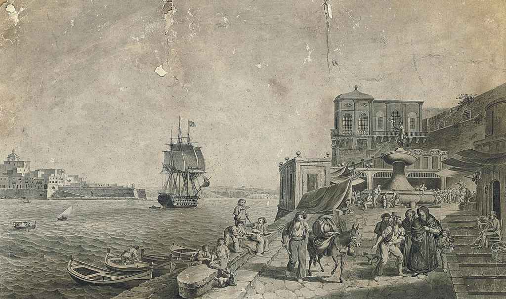 A busy day on the quayside, Valetta, Malta, with a warship in the harbour beyond (illustrated); and View of Valetta harbour, Malta