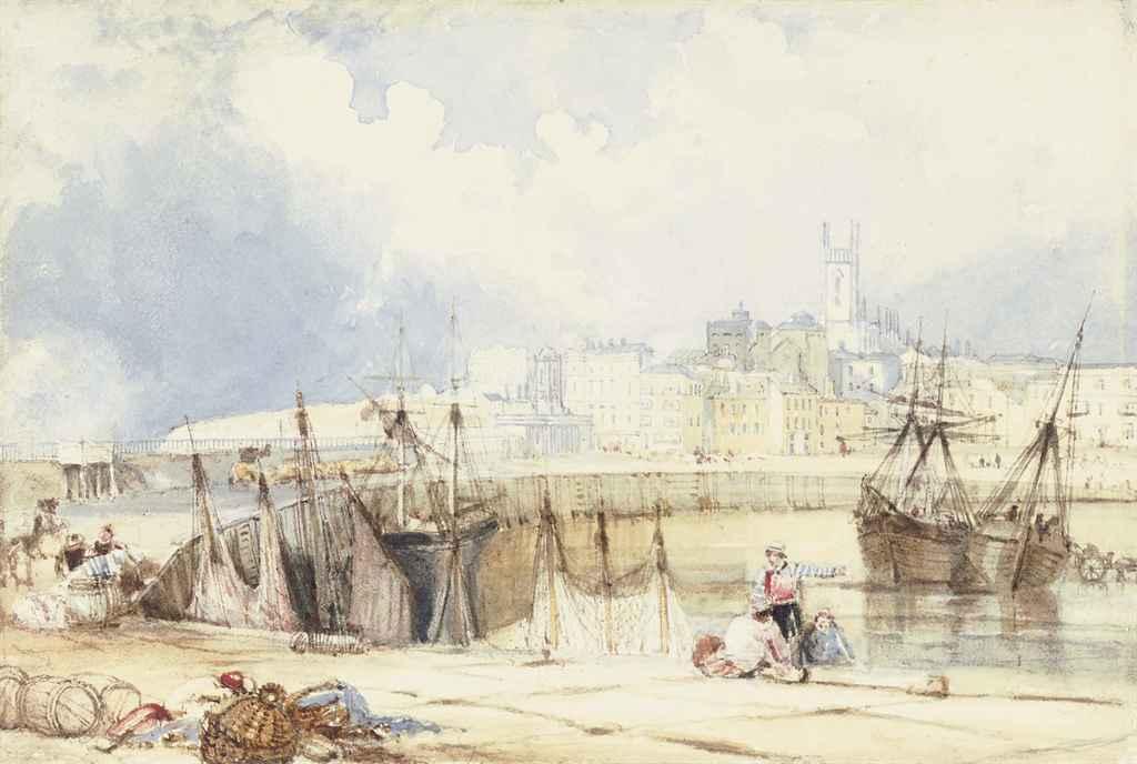 Fishermen conversing on the breakwater at Margate, Kent