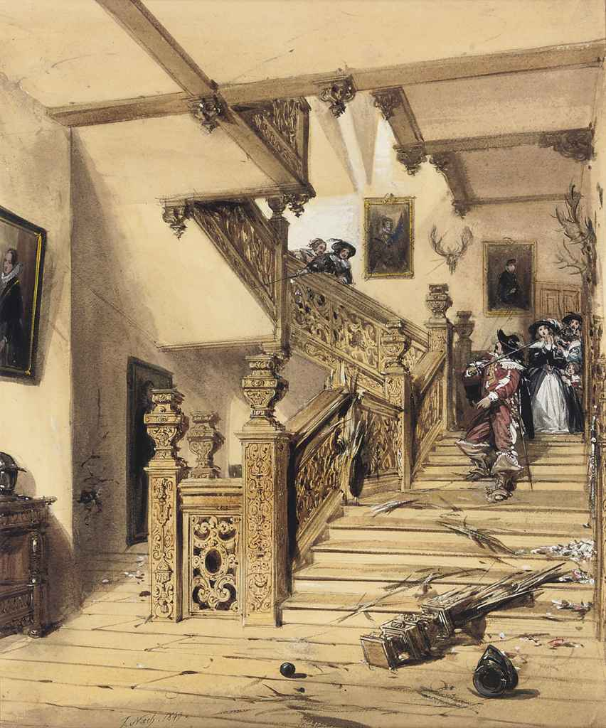 A duel on the staircase of Aston Hall, Warwickshire, a scene from its siege during the Civil War (illustrated); and A figure with a King Charles spaniel in the courtyard of a gothic house