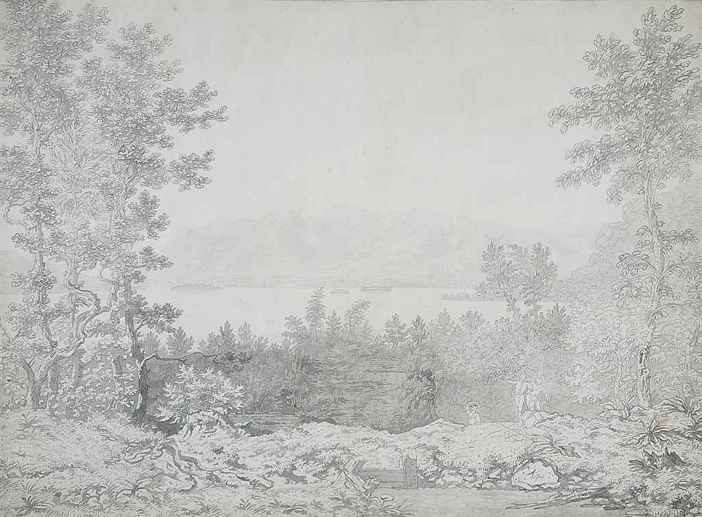 View of the Lake District with figures in the foreground (illustrated); and View near Hastings, Sussex