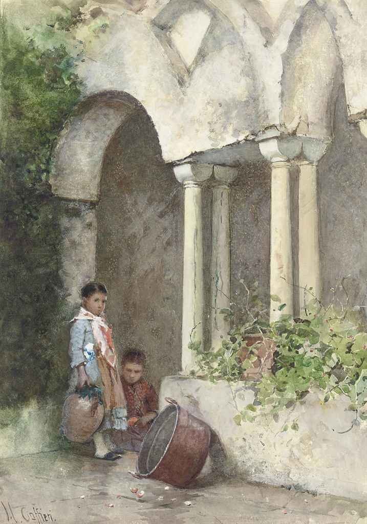 Two Mexican children in a courtyard