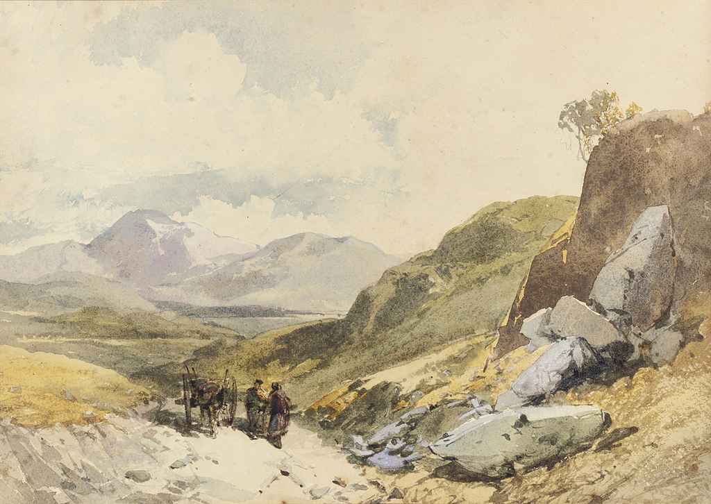 A Highland landscape with figures conversing by a horse-drawn cart (illustrated); and Keswick, the Lake District