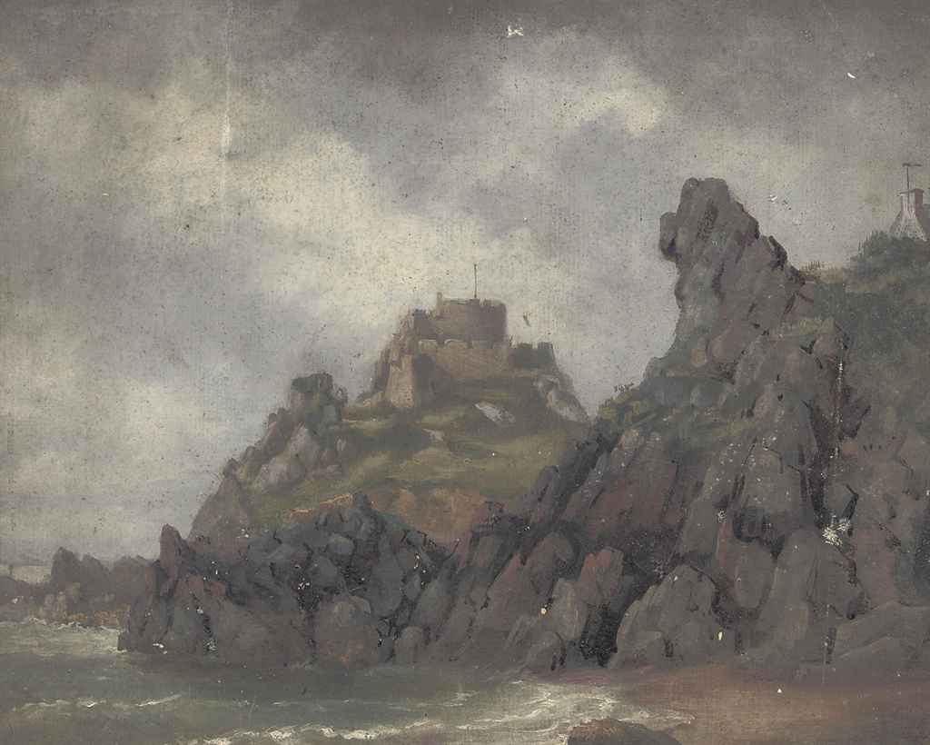 Eighteen oil sketches of costal scenery around Jersey including views of: Mont Orgueil (illustrated); Elizabeth Castle; North Pier; La Rocco; and Needle Rock, St Ouen